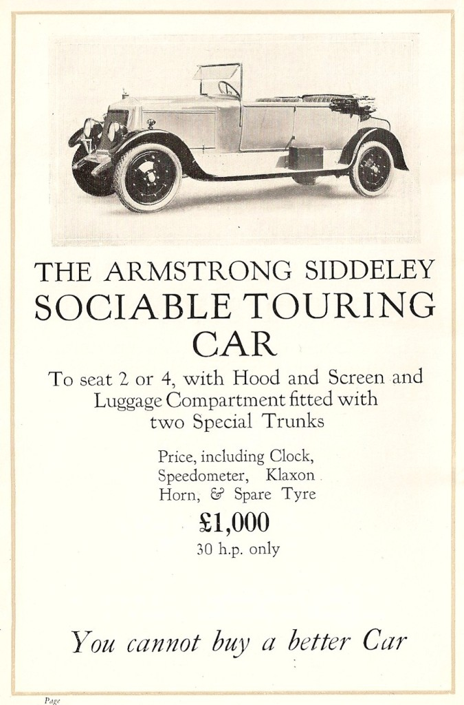 Sociable Tourer body on a 30 HP Armstrong Siddeley in 1921