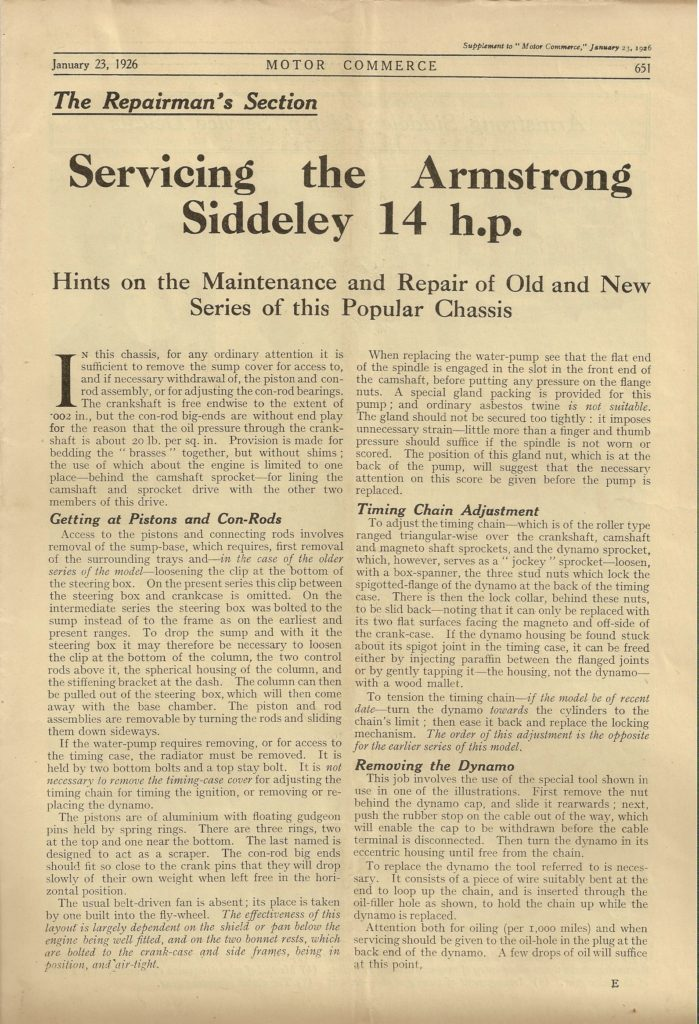 1926 Armstrong Siddeley 14 HP technical information