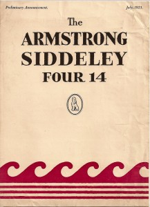 Armstrong Siddeley 14 HP announcement leaflet 1923