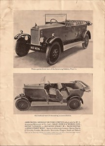 Armstrong Siddeley 14 HP 1923 - front & side views