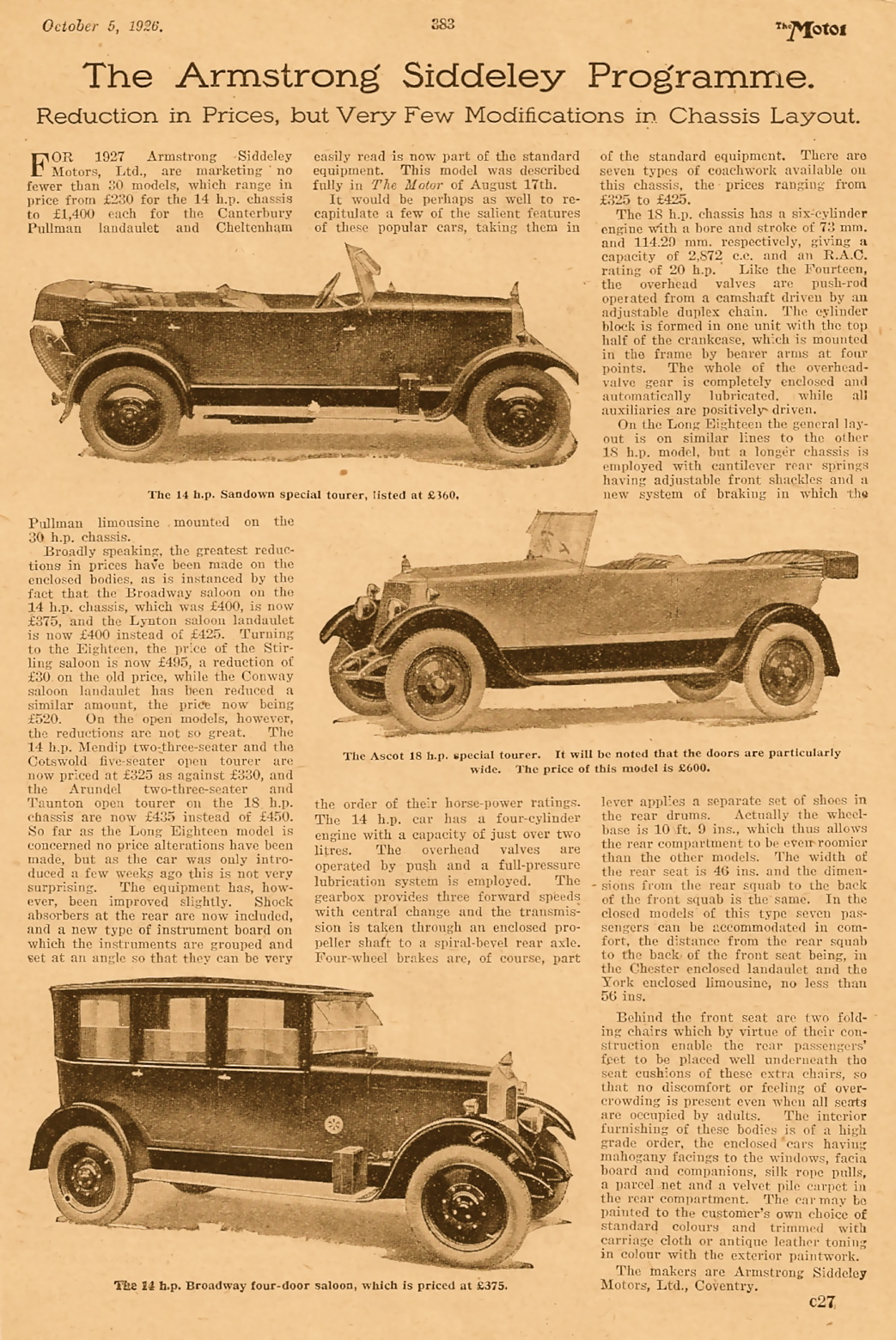 Armstrong Siddeley 1927 model range