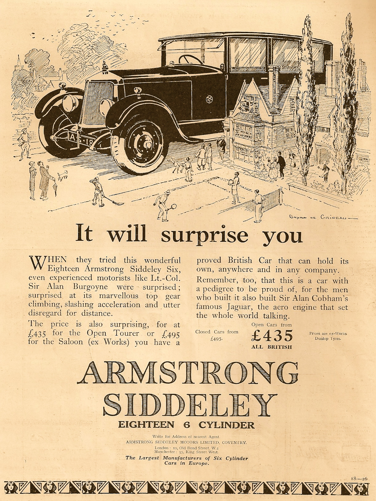 Bryan De Grineau drawing for Armstrong Siddeley 1927