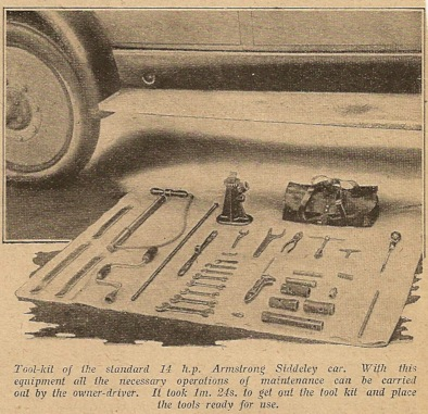 Toolkit for 14 HP Armstrong Siddeley car 1926