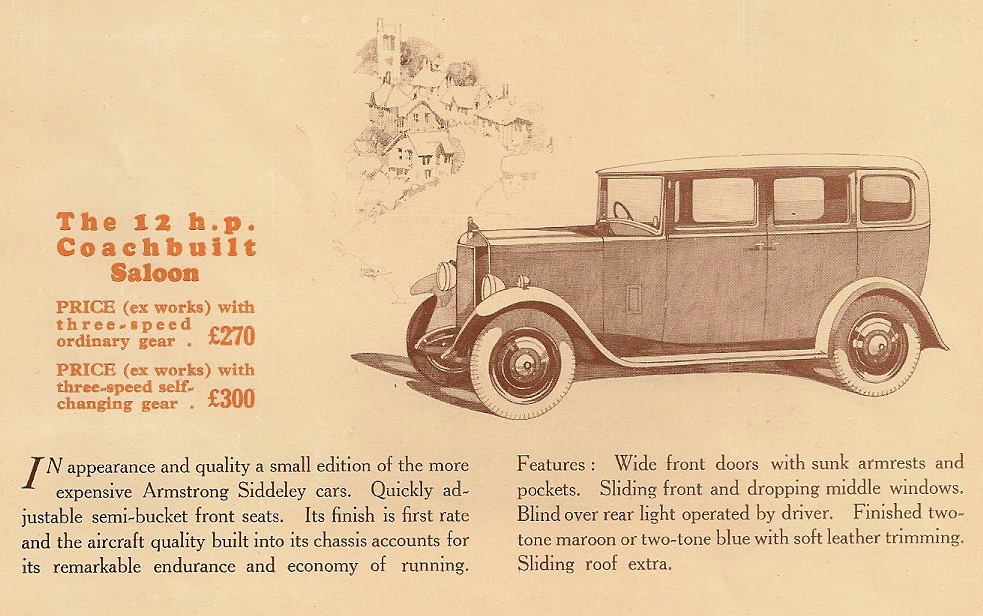 12 horse-power Armstrong Siddeley with coachbuilt saloon body 1930