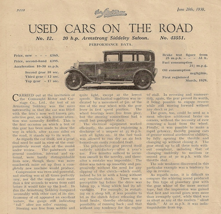20 HP Armstrong Siddeley car road test, June 1930